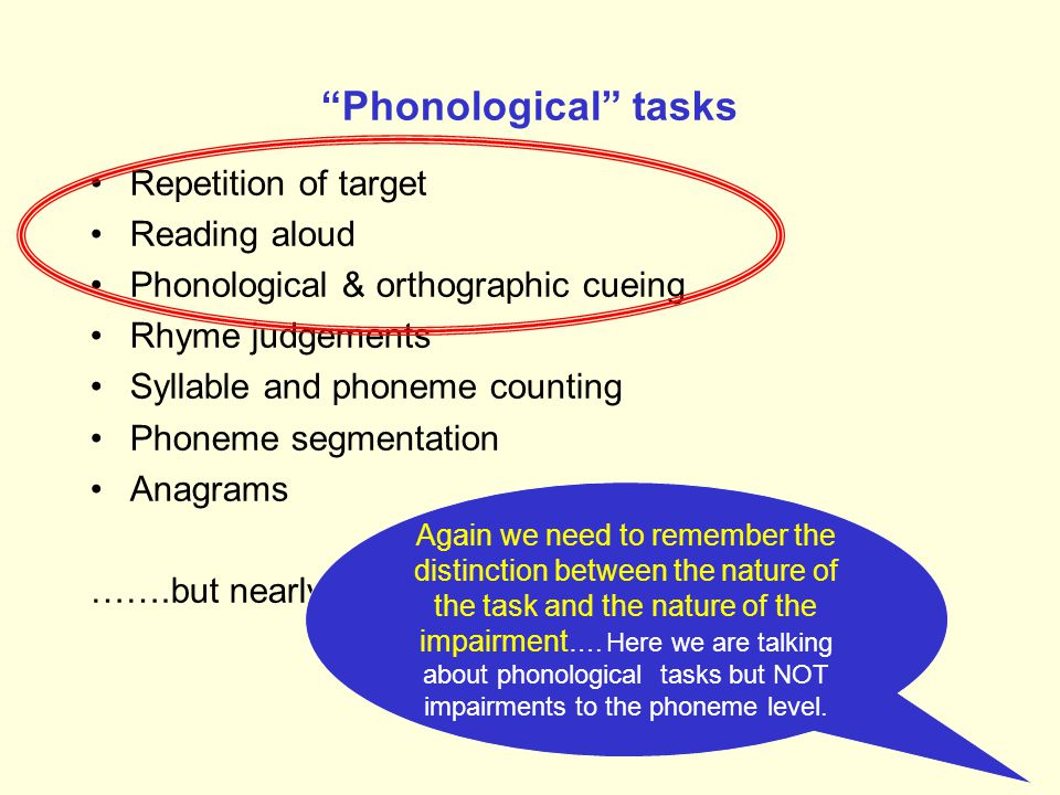 Phonological tasks Repetition of target Reading aloud