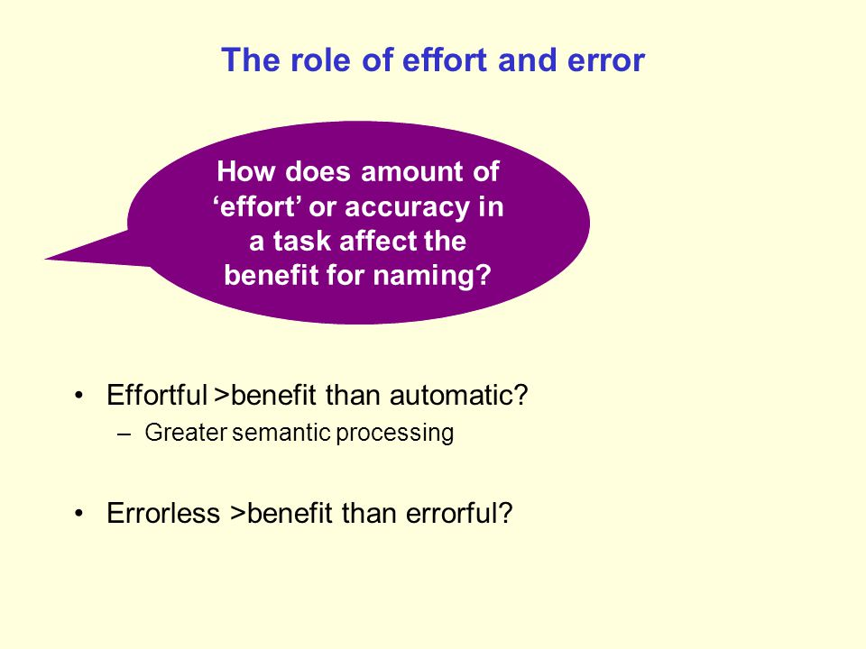 The role of effort and error