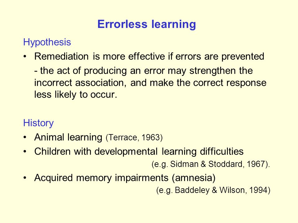 Errorless learning Hypothesis