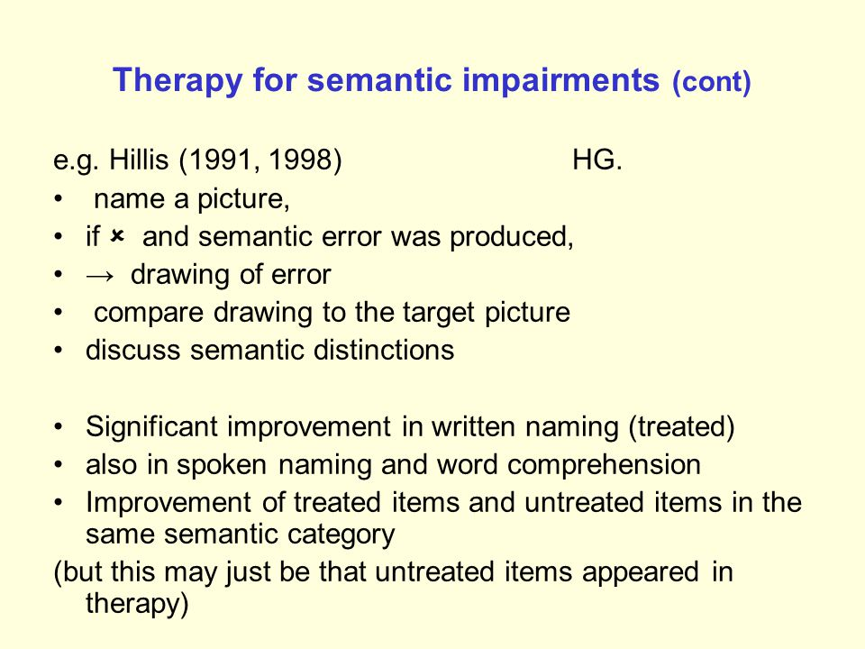 Therapy for semantic impairments (cont)