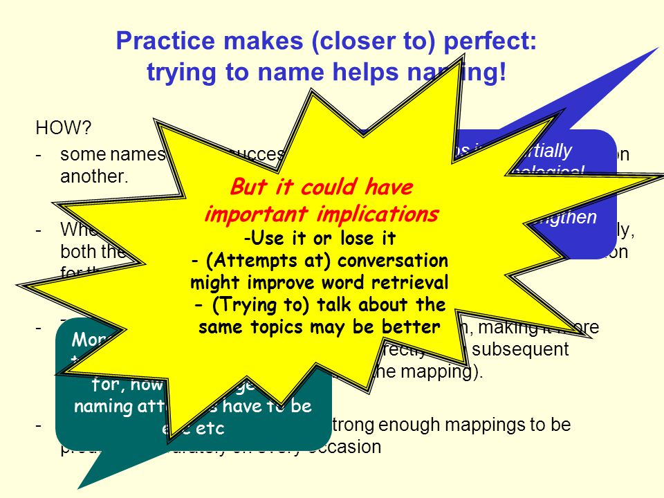Practice makes (closer to) perfect: trying to name helps naming!