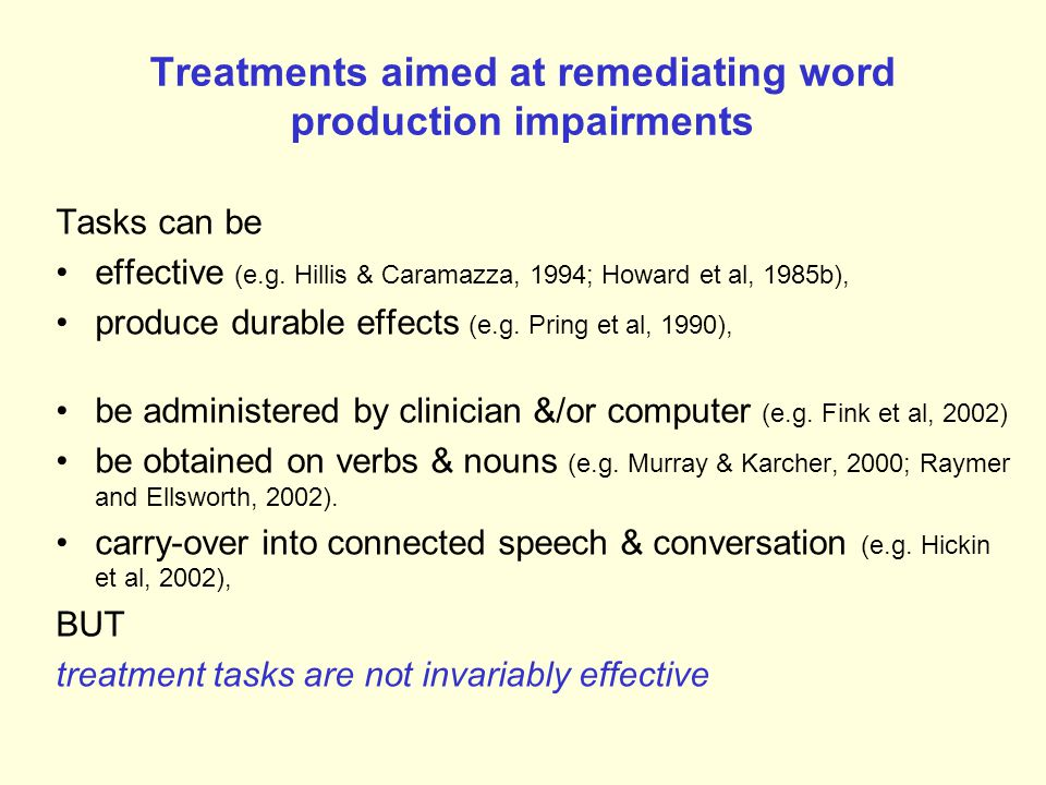 Treatments aimed at remediating word production impairments