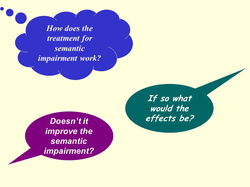 How does the treatment for semantic impairment work