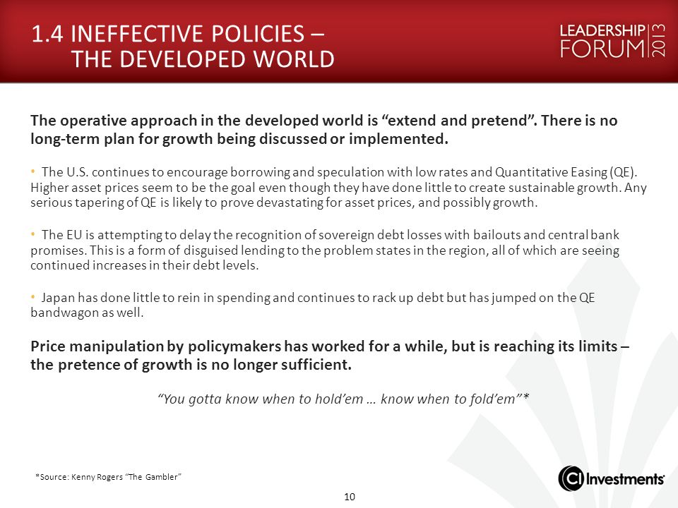 1.4 INEFFECTIVE POLICIES – THE DEVELOPED WORLD