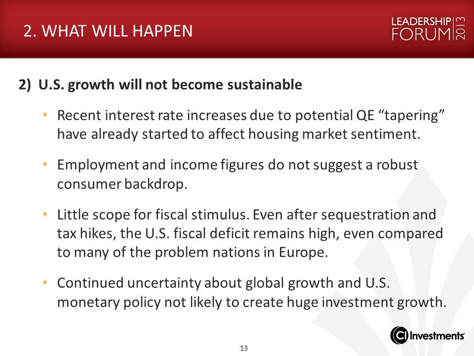 2. WHAT WILL HAPPEN 2) U.S. growth will not become sustainable