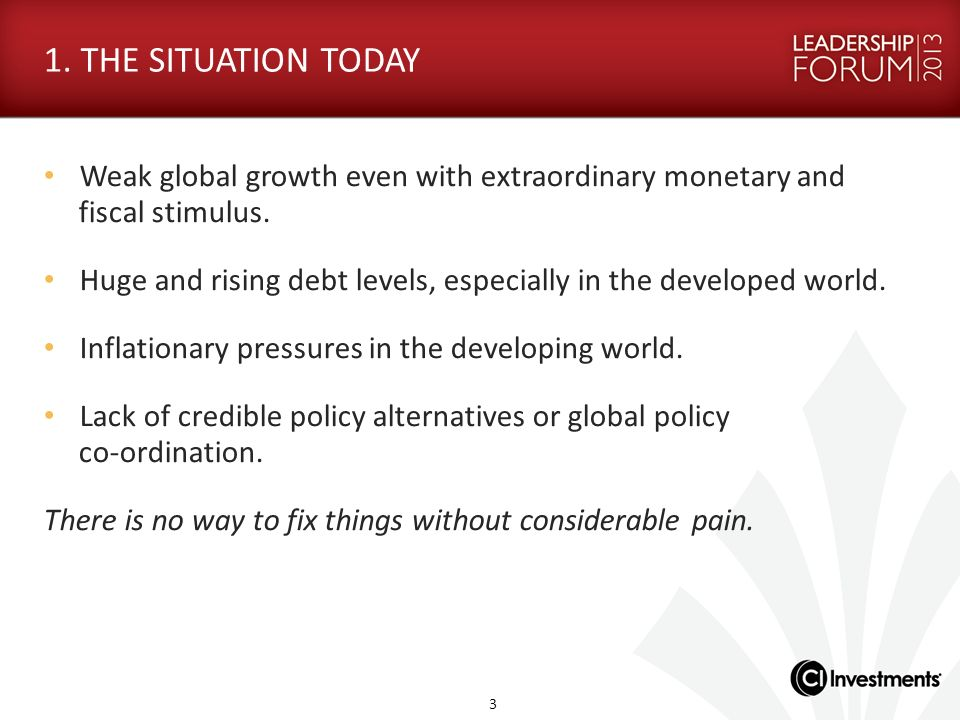 1. THE SITUATION TODAY Weak global growth even with extraordinary monetary and fiscal stimulus.