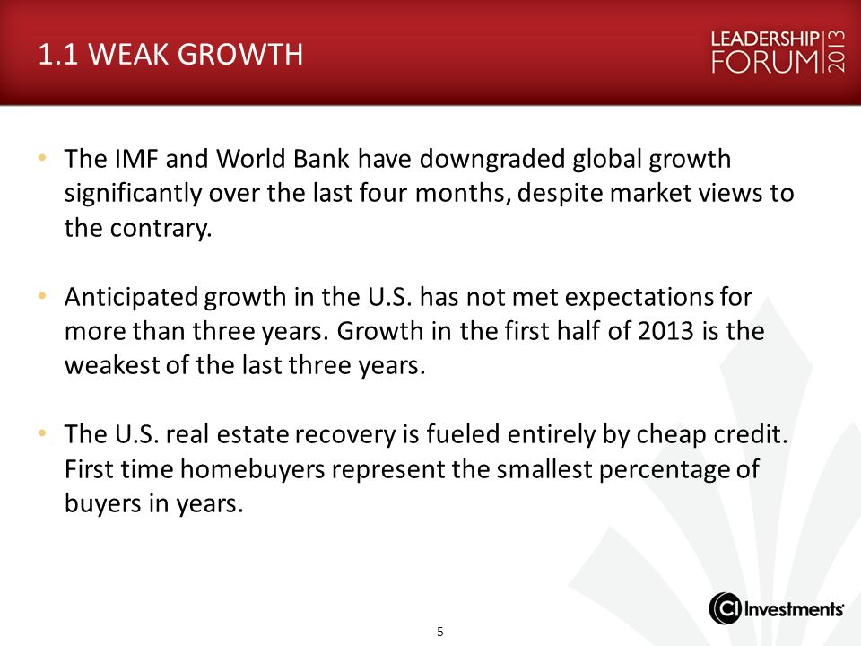 1.1 WEAK GROWTH The IMF and World Bank have downgraded global growth significantly over the last four months, despite market views to the contrary.