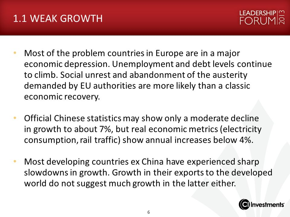 1.1 WEAK GROWTH