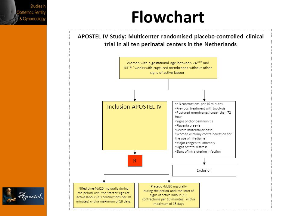 Flowchart APOSTEL IV Study: Multicenter randomised placebo-controlled clinical trial in all ten perinatal centers in the Netherlands.