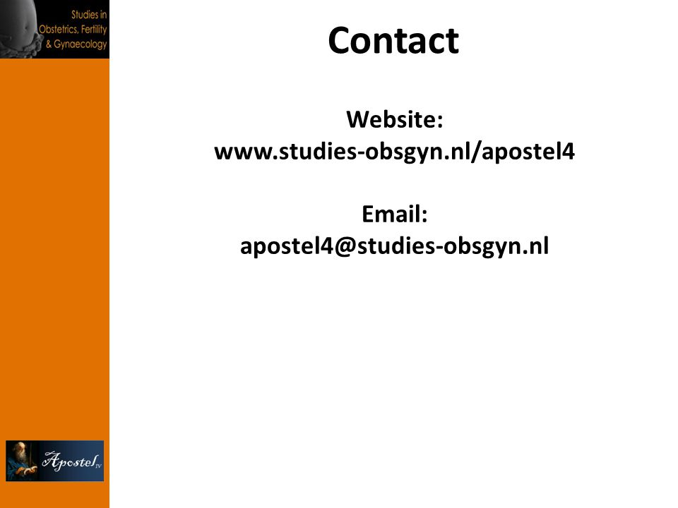 Contact Website: www.studies-obsgyn.nl/apostel4 Email: