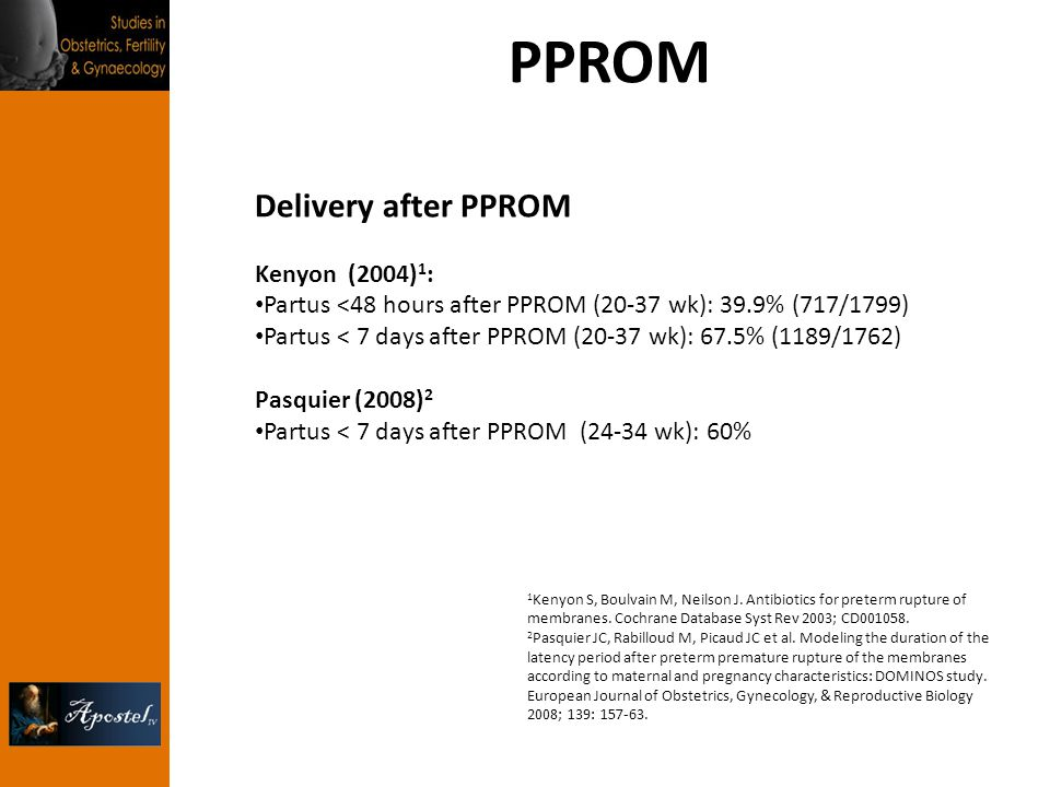 PPROM Delivery after PPROM Kenyon (2004)1: