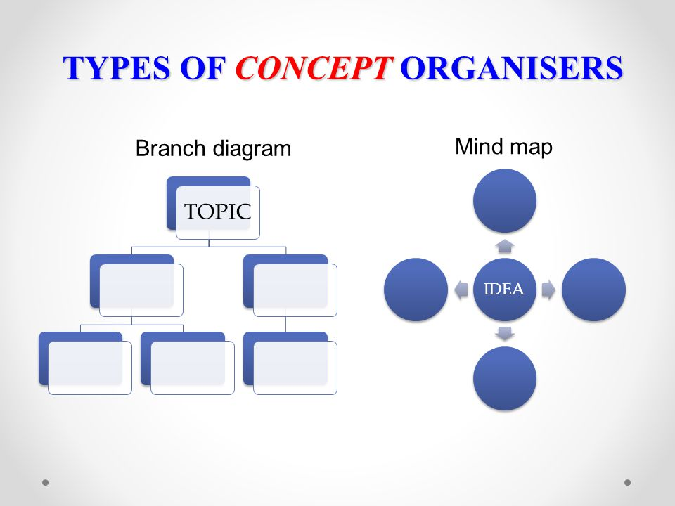 TYPES OF CONCEPT ORGANISERS