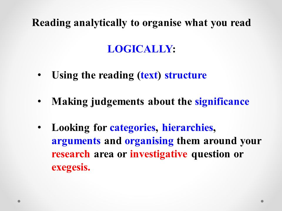 Reading analytically to organise what you read