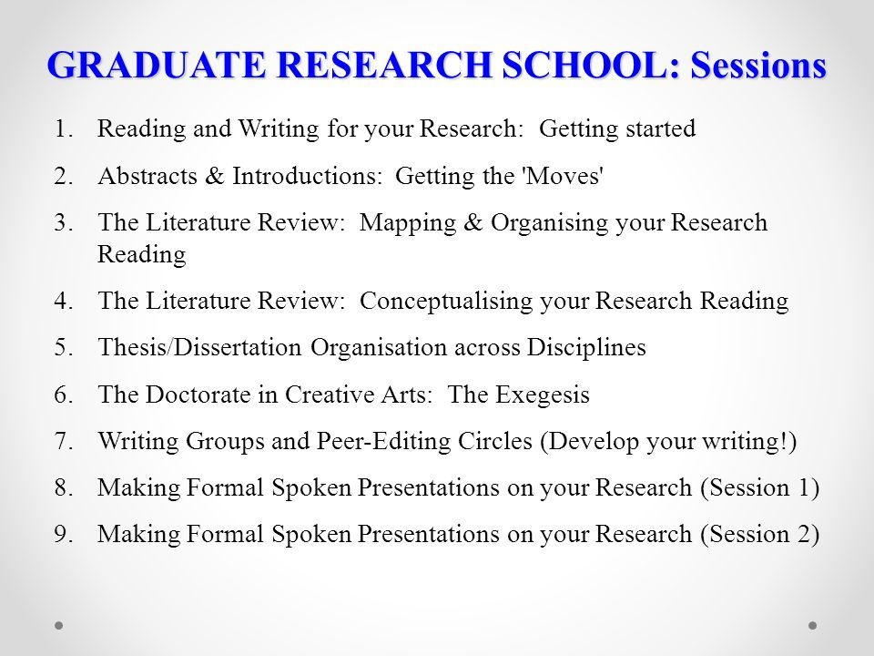 GRADUATE RESEARCH SCHOOL: Sessions