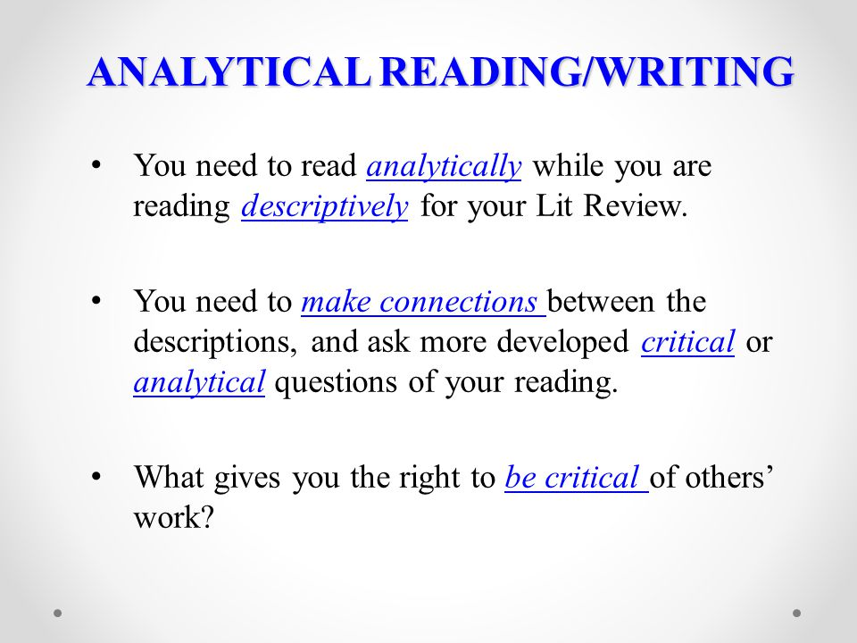 ANALYTICAL READING/WRITING