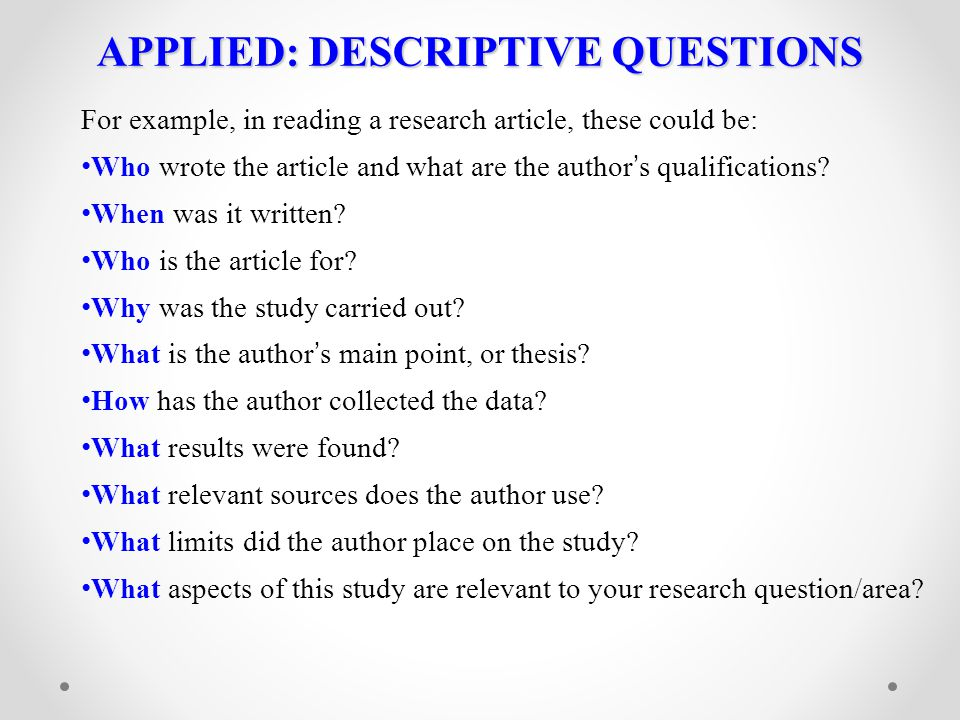 APPLIED: DESCRIPTIVE QUESTIONS