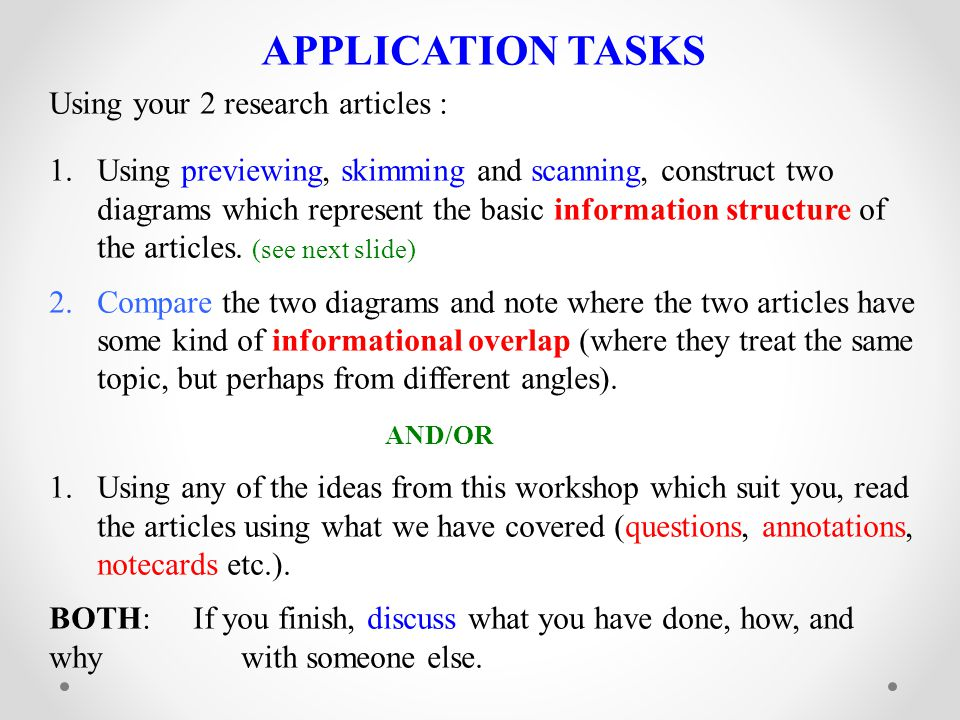 APPLICATION TASKS Using your 2 research articles :