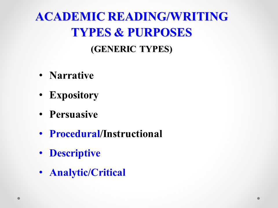 ACADEMIC READING/WRITING TYPES & PURPOSES (GENERIC TYPES)