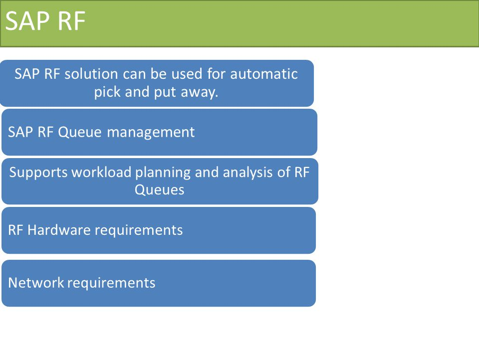 SAP RF SAP RF solution can be used for automatic pick and put away.