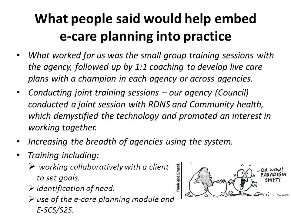 What people said would help embed e-care planning into practice