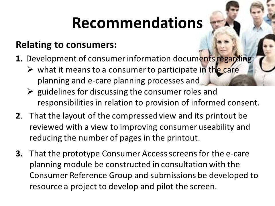 Recommendations Relating to consumers: