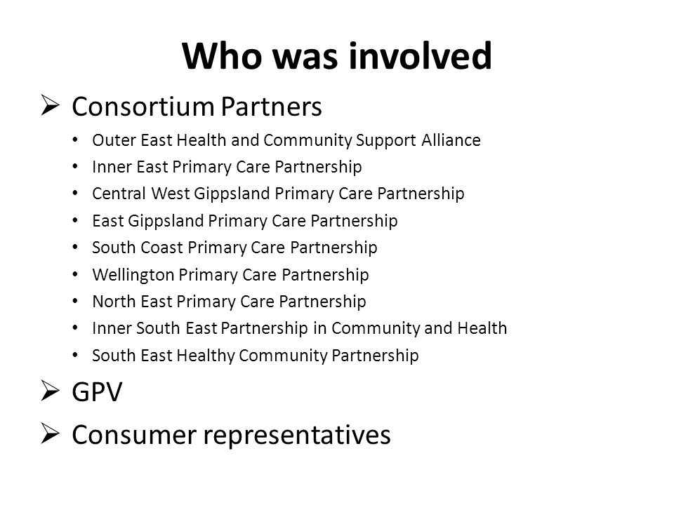 Who was involved Consortium Partners GPV Consumer representatives