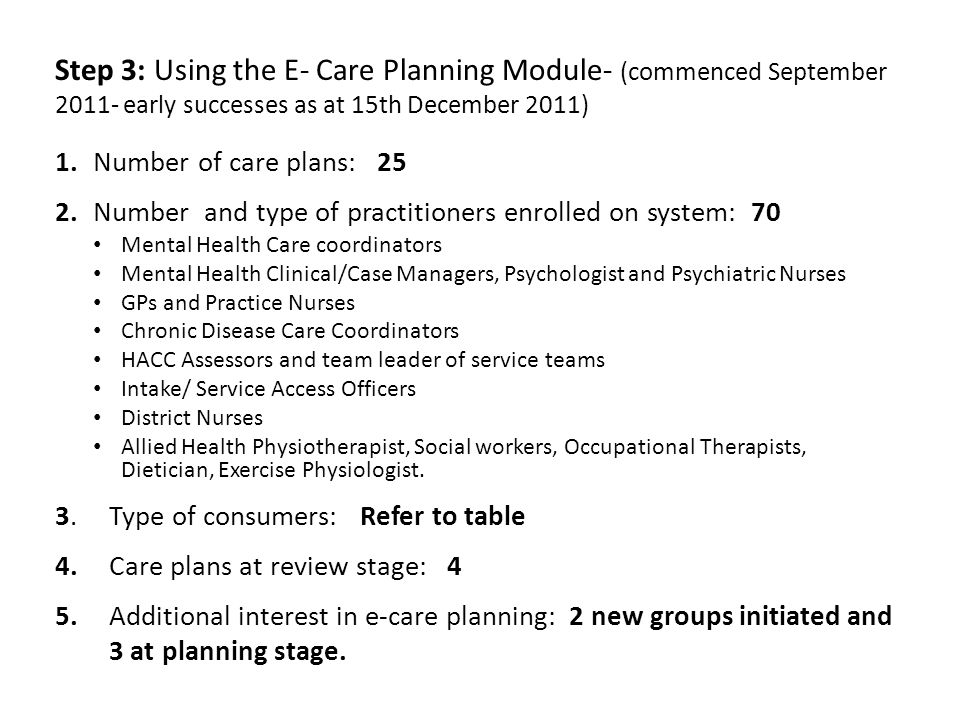 Step 3: Using the E- Care Planning Module- (commenced September 2011- early successes as at 15th December 2011)