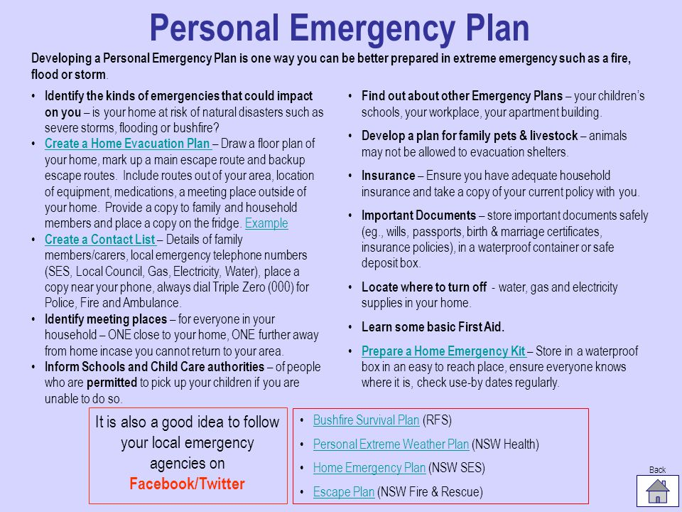 Personal Emergency Plan