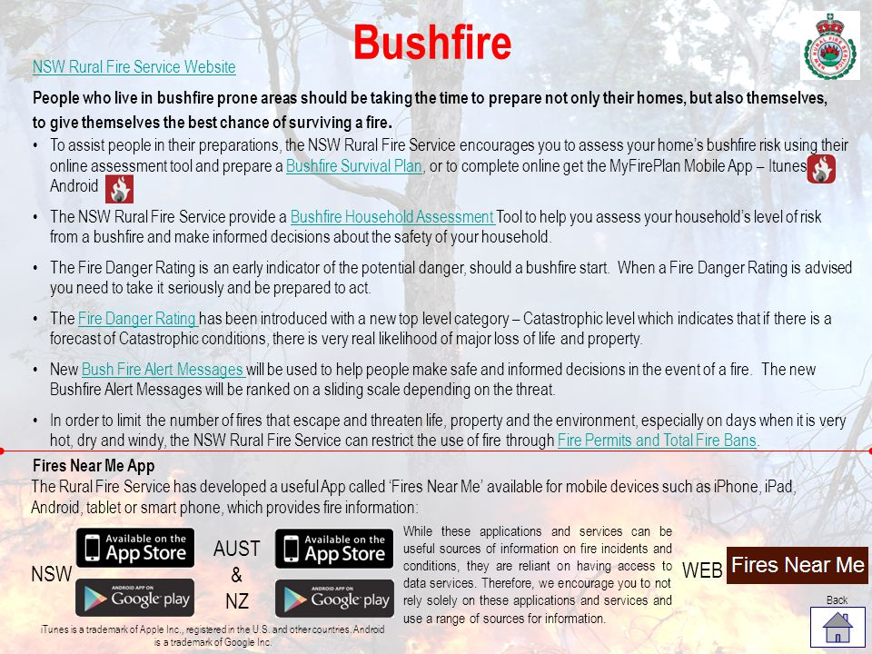 Bushfire AUST & NZ WEB NSW NSW Rural Fire Service Website