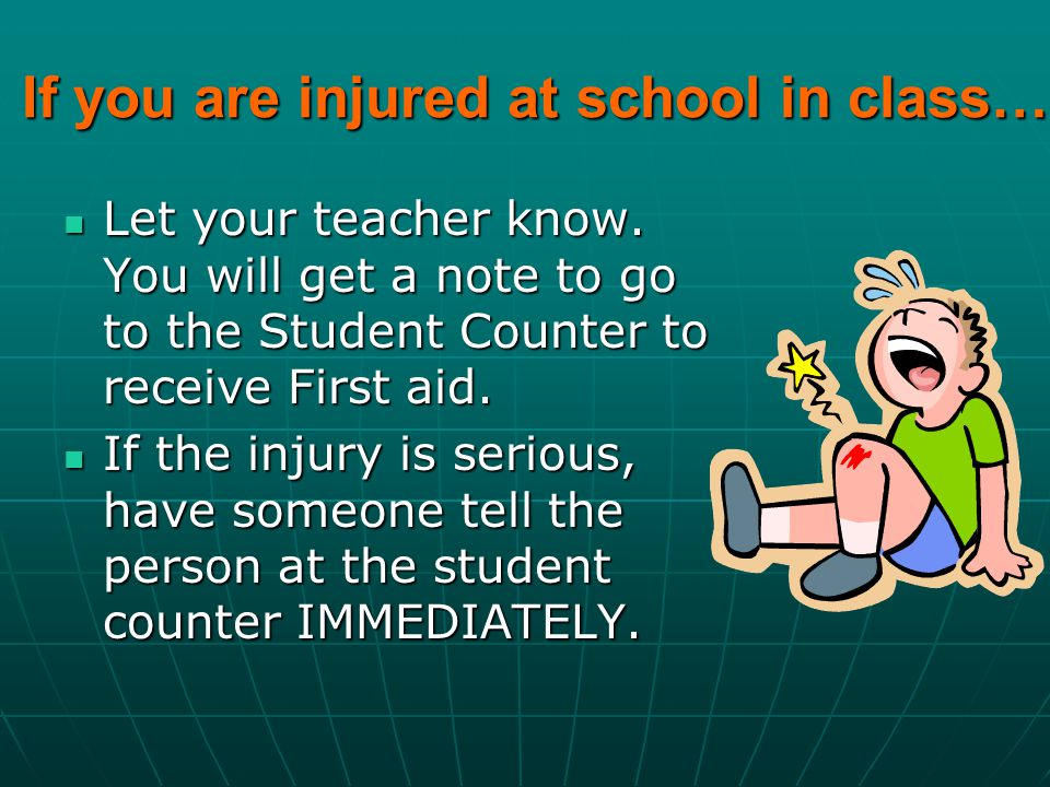 If you are injured at school in class…