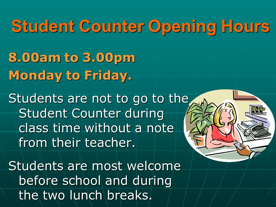 Student Counter Opening Hours