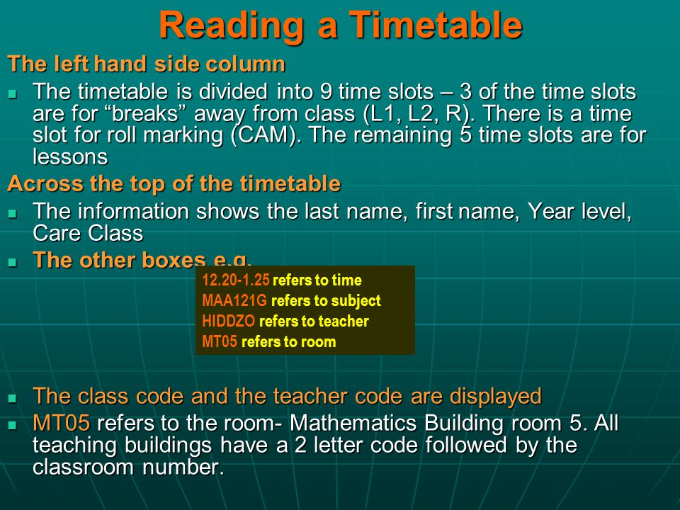 Reading a Timetable The left hand side column