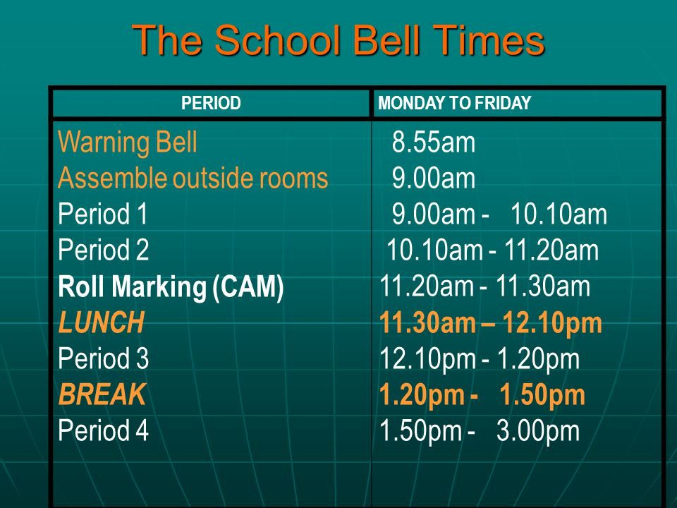 The School Bell Times Warning Bell Assemble outside rooms Period 1