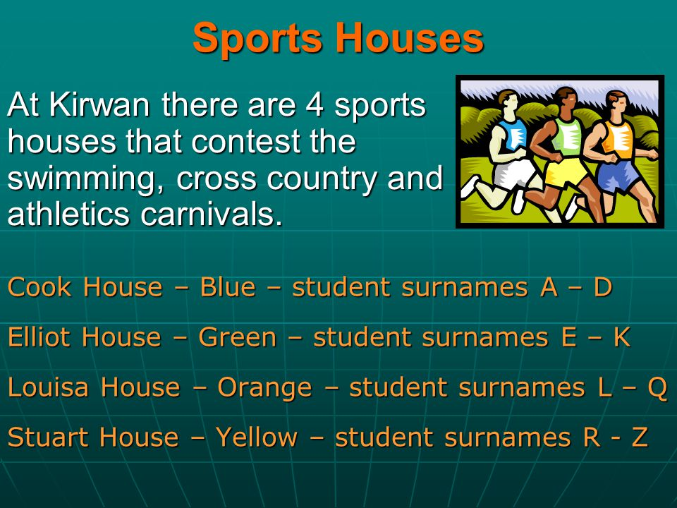 Sports Houses At Kirwan there are 4 sports houses that contest the swimming, cross country and athletics carnivals.