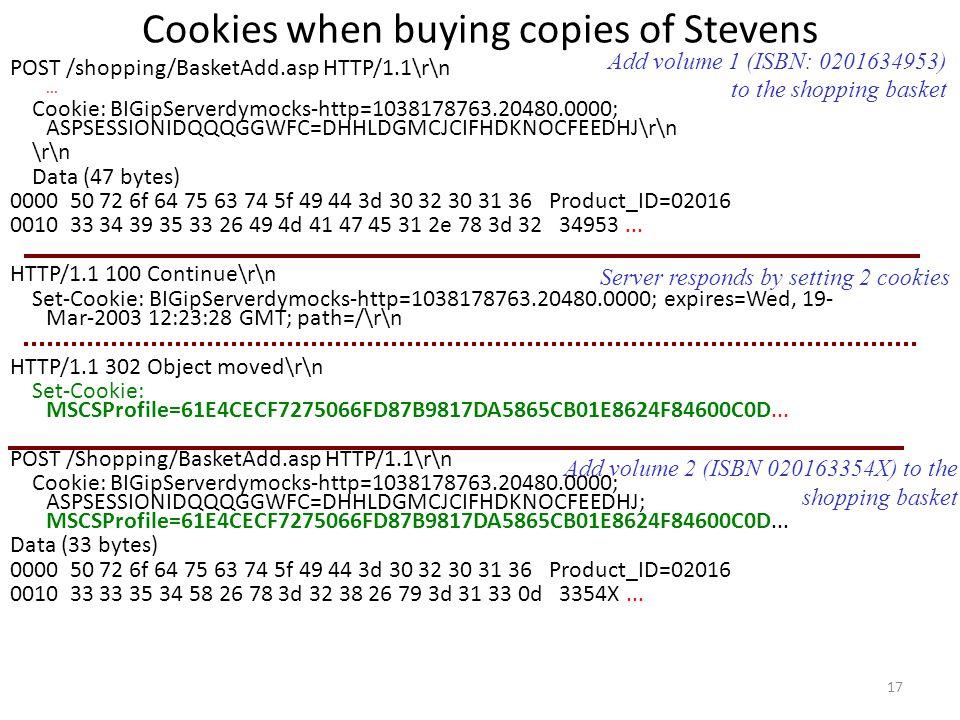 Cookies when buying copies of Stevens