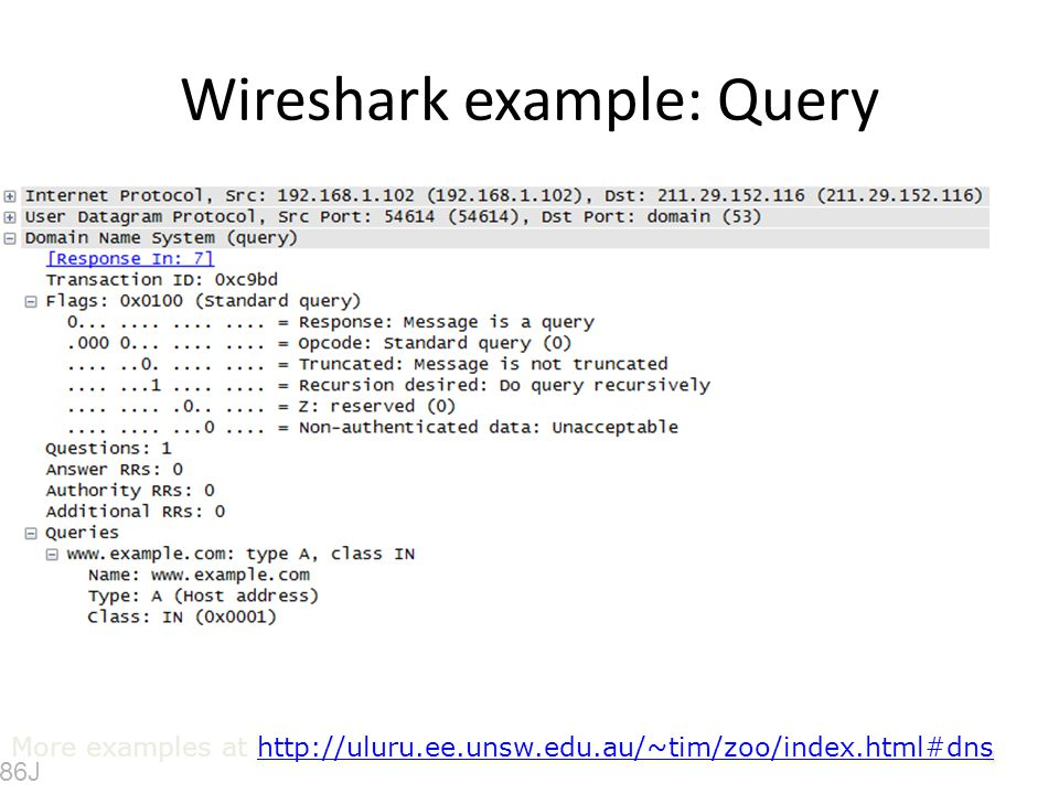 Wireshark example: Query