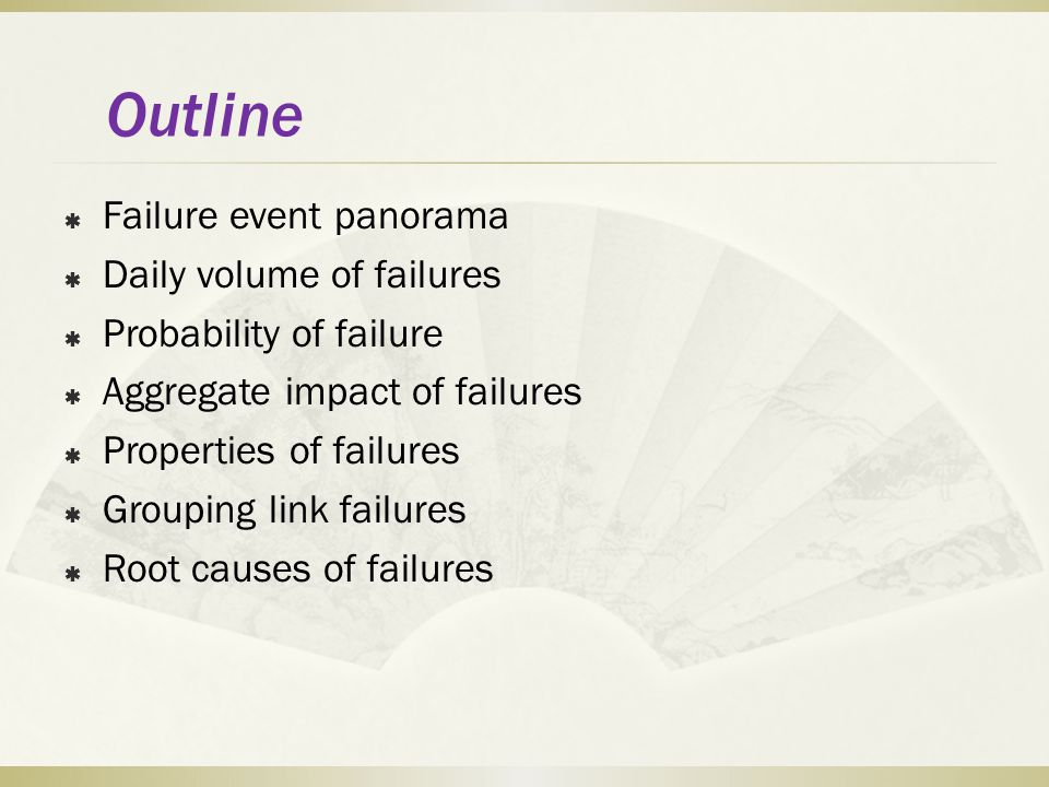 Outline Failure event panorama Daily volume of failures