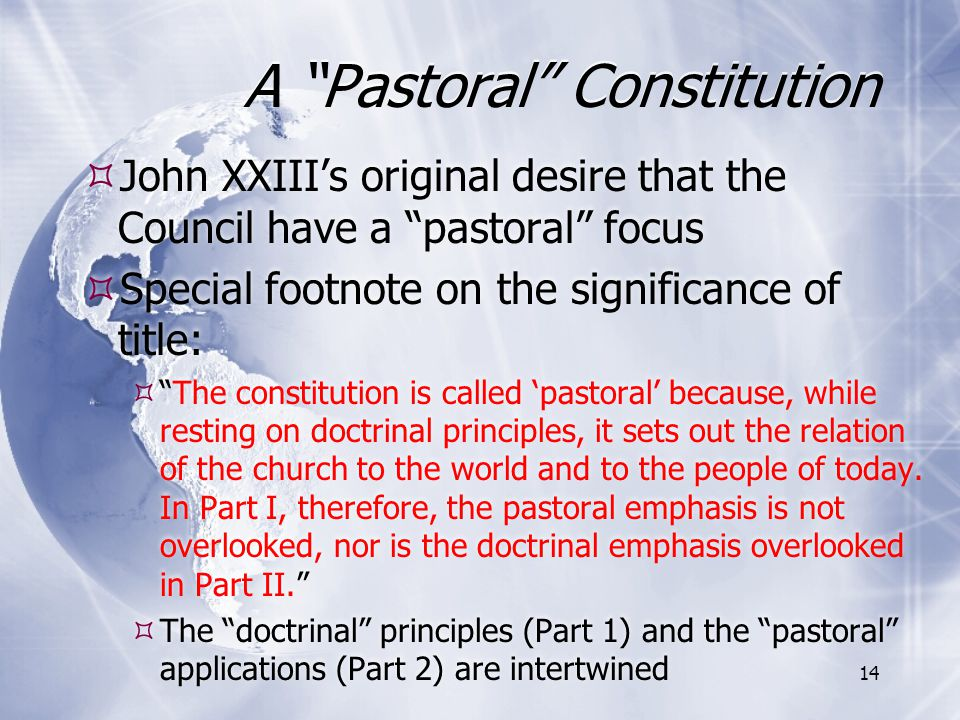 A Pastoral Constitution
