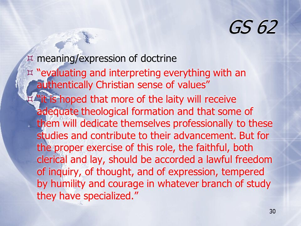 GS 62 meaning/expression of doctrine