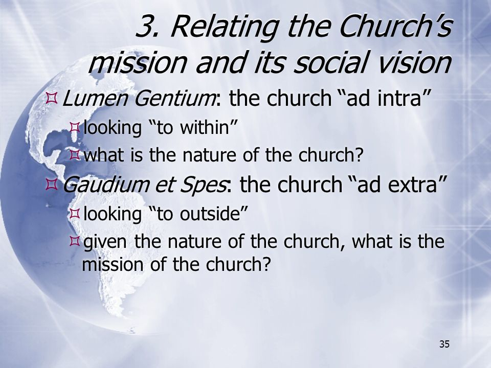 3. Relating the Church's mission and its social vision