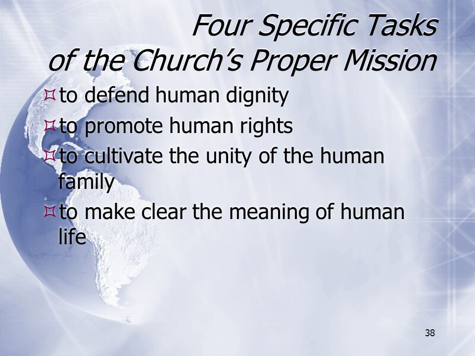 Four Specific Tasks of the Church's Proper Mission