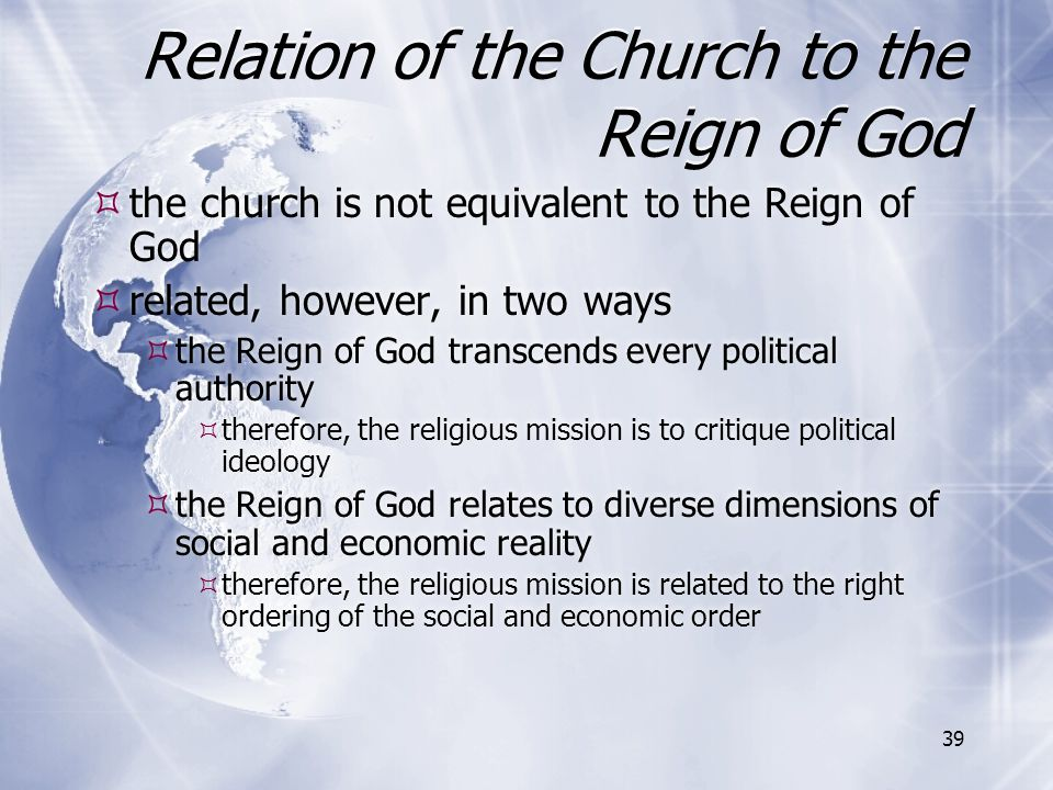Relation of the Church to the Reign of God