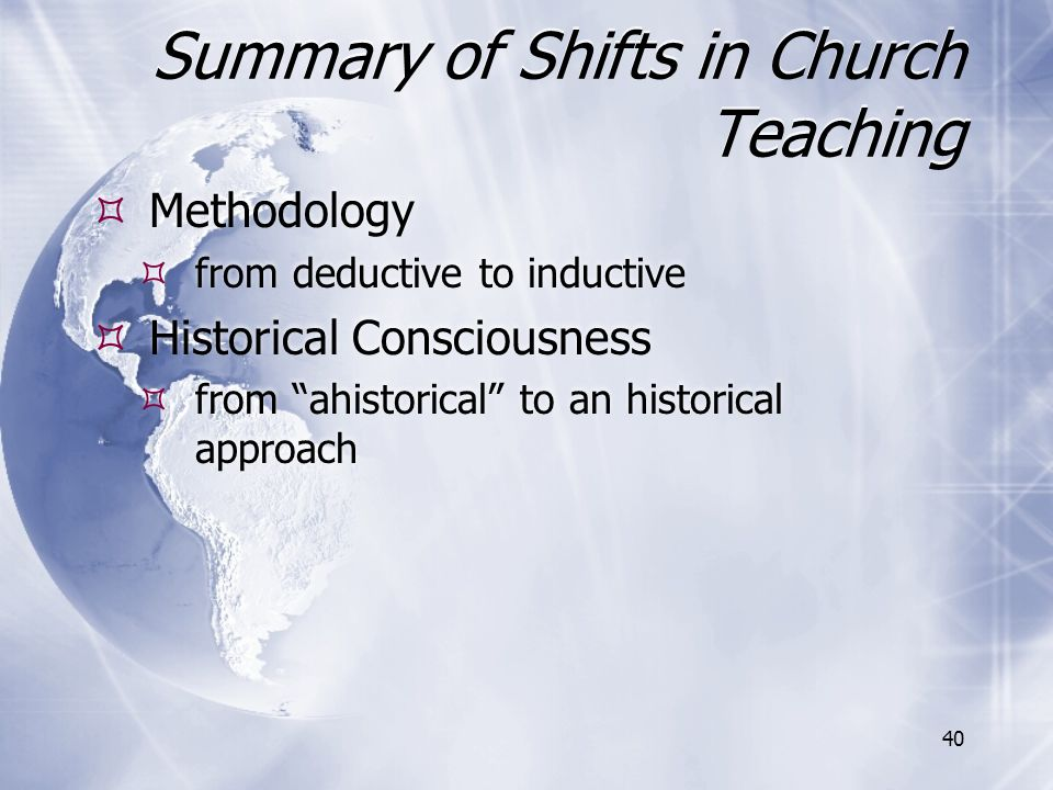 Summary of Shifts in Church Teaching