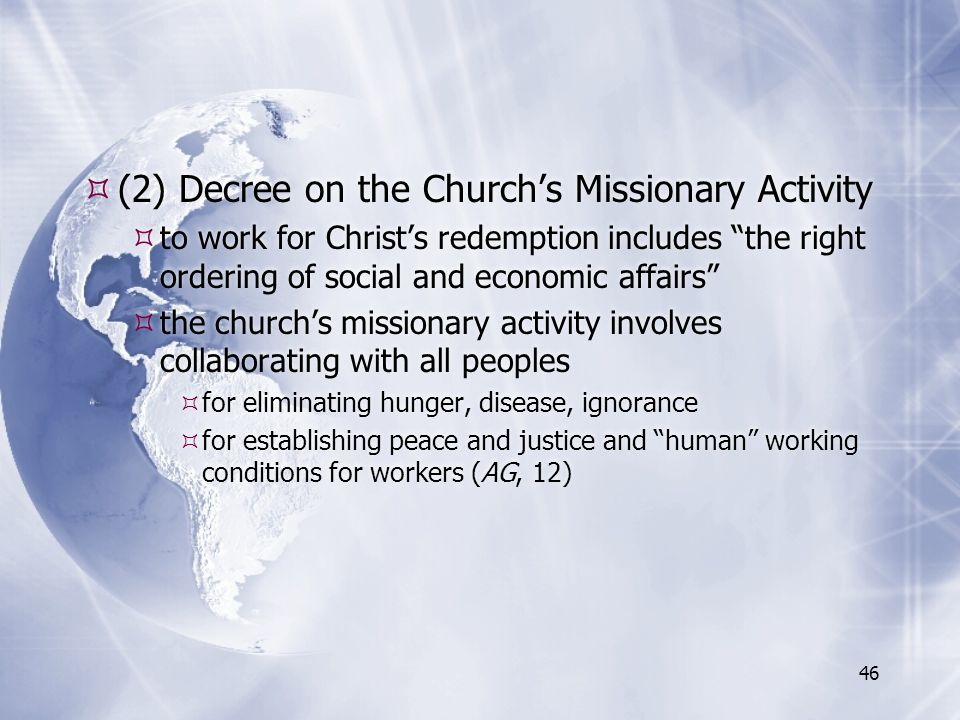 (2) Decree on the Church's Missionary Activity