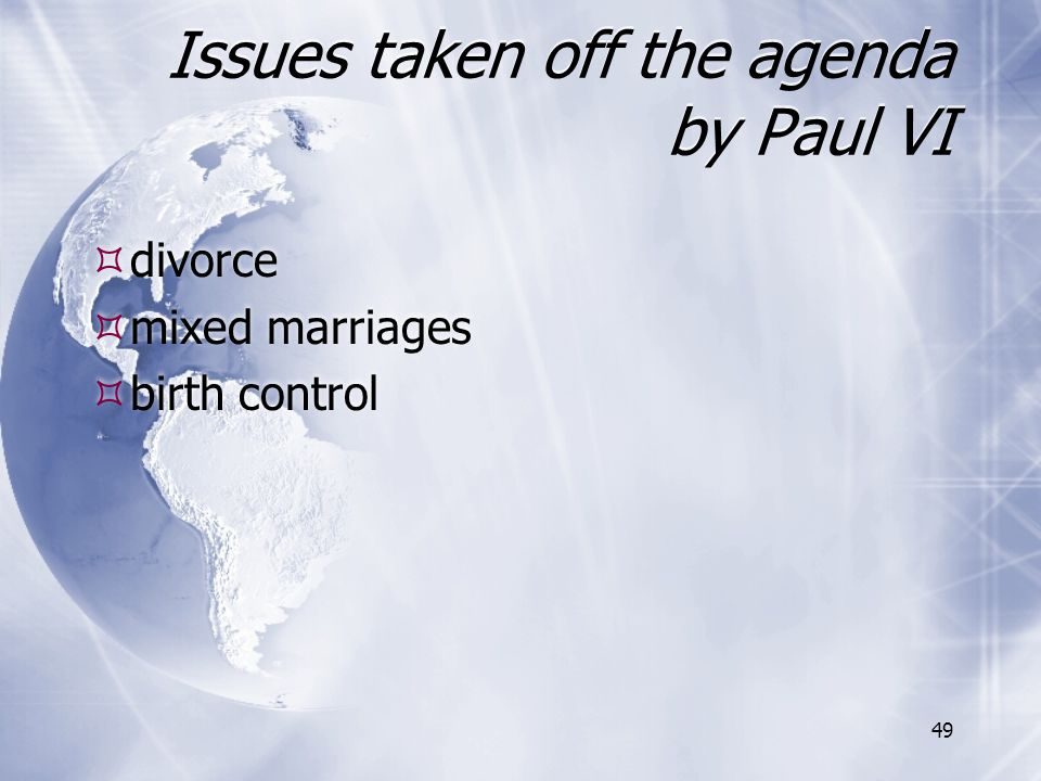 Issues taken off the agenda by Paul VI