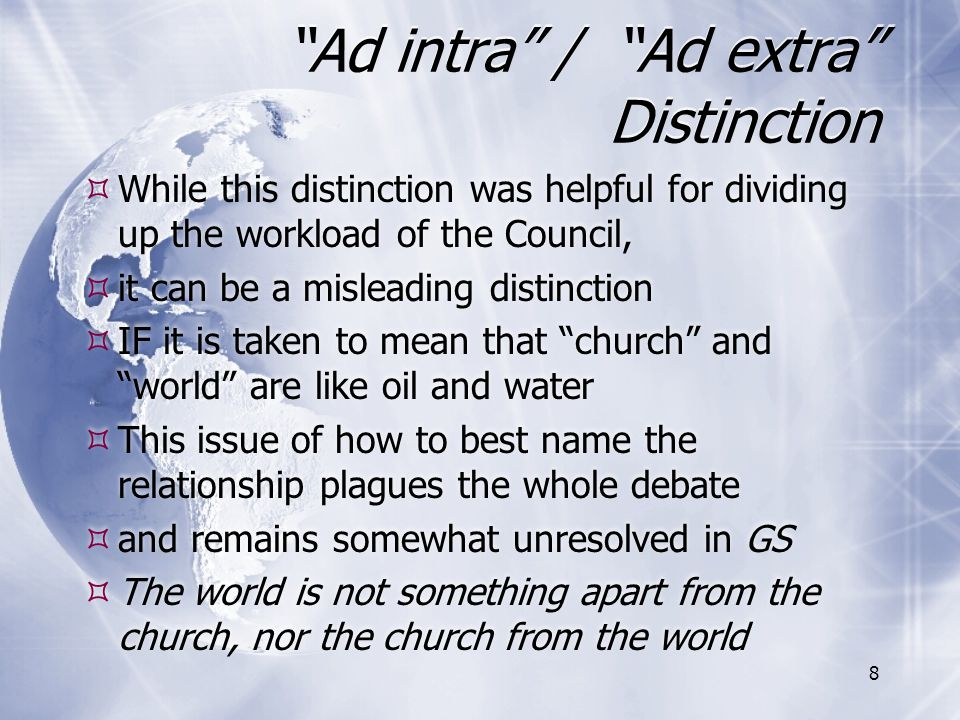 Ad intra / Ad extra Distinction