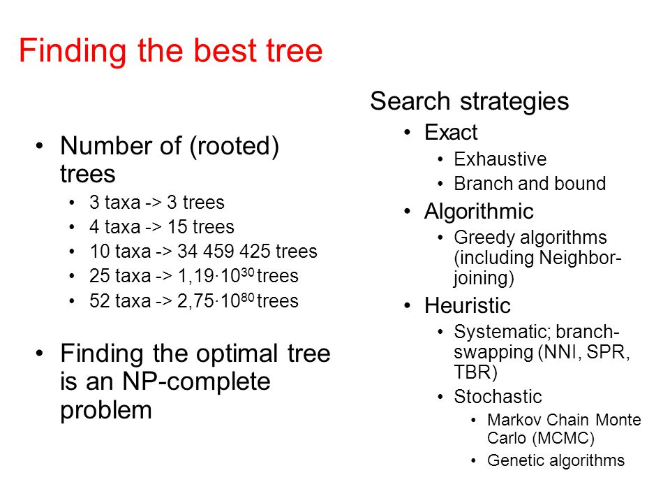 Finding the best tree Search strategies Number of (rooted) trees