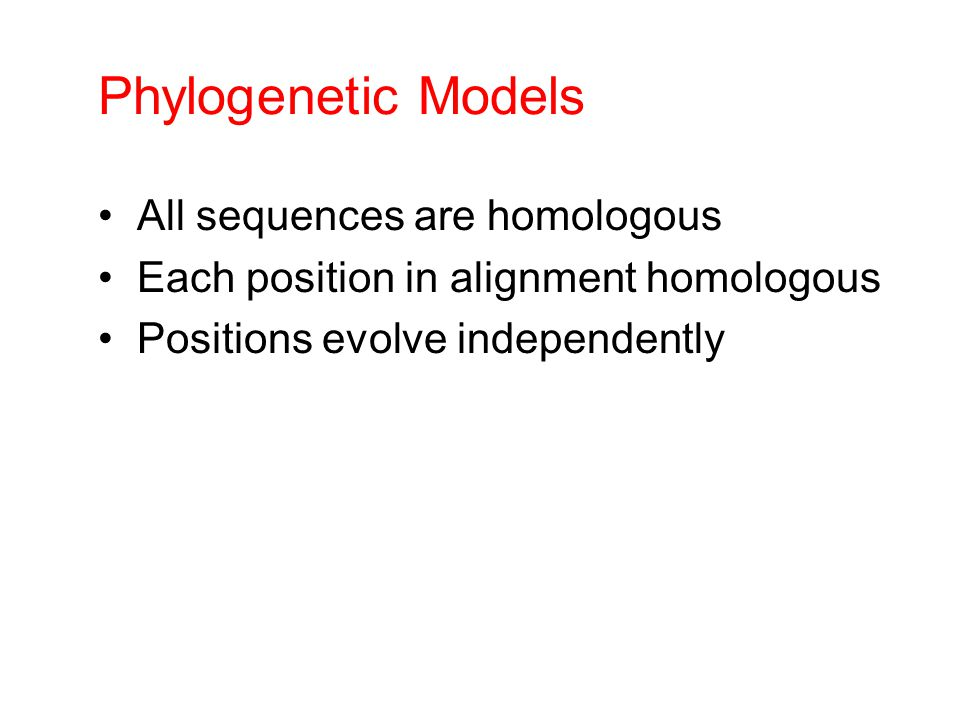 Phylogenetic Models All sequences are homologous