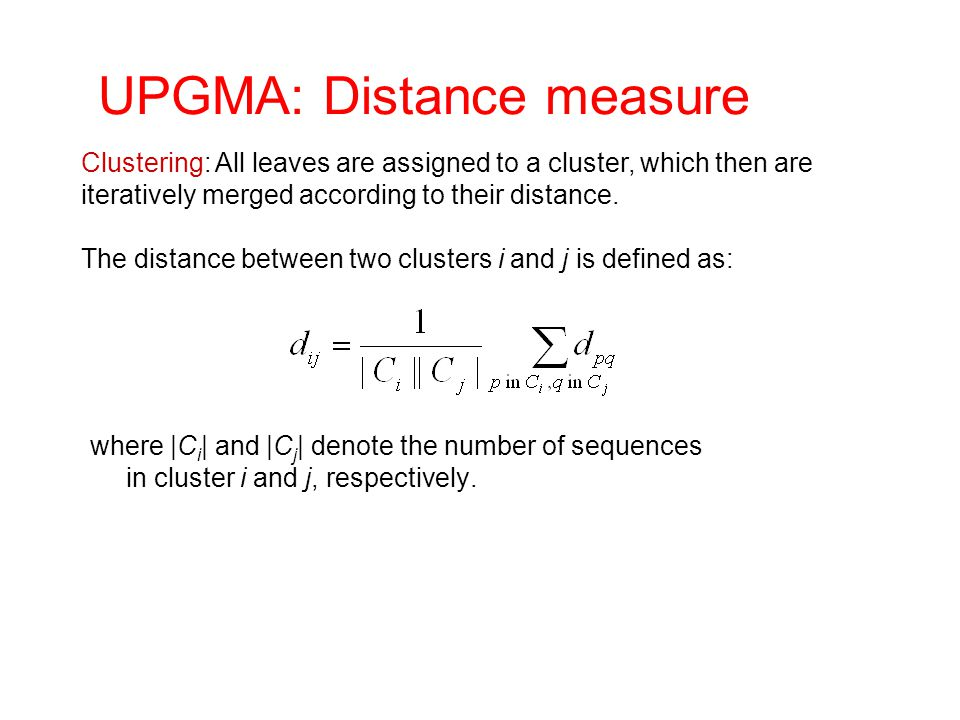 UPGMA: Distance measure
