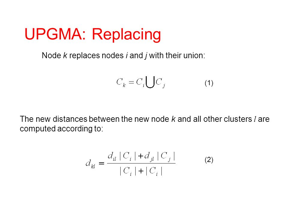 UPGMA: Replacing Node k replaces nodes i and j with their union: